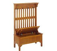 Home Styles Solid Wood Oak Storage Bench with Coat Rack - H116854