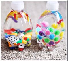 Calming bottles to distract children and help them calm down.