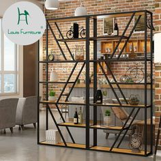 Quality Louis Fashion Mazagine Racks Simple Bookshelf Solid Wood Partition Board Floor Living Room with free worldwide shipping on AliExpress Mobile Wood Partition, Living Room Partition, Living Room Bookcase, Room Partition Designs, Iron Furniture, Steel Furniture, Quality Furniture, Industrial Furniture, Furniture Design