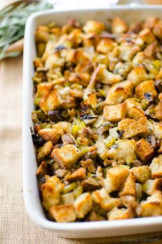holiday stuffing made with sourdough bread, sausage, leeks and apples ...
