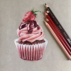 Cupcake with prismacolor pencils : drawingYou can find Prismacolor and more on our website.Cupcake with prismacolor pencils : drawing Cool Art Drawings, Pencil Art Drawings, Realistic Drawings, Colorful Drawings, Art Sketches, Horse Drawings, Pencil Sketching, Colored Pencil Artwork, Coloured Pencils
