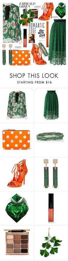 """""""Emerald City: Pops of Green"""" by pesanjsp ❤ liked on Polyvore featuring TRY ME, Chicwish, Comme des Garçons, Sam Edelman, Bee Goddess, Thierry Mugler, L'Oréal Paris, Stila and emeraldgreen"""