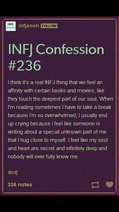 Infj.  I also have to take frequent breaks from emotionally intense movies and tv shows which is why Netflix is my friend. I can always pause and come back in a few minutes.