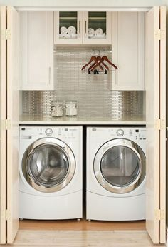 closet laundry room | Small closet just big enough for this homeowner's laundry room. NO ...