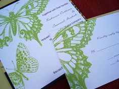 Butterfly Wedding Invitation Sample  Arlington by Tulaloo on Etsy
