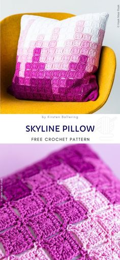 Skyline Pillow Free Crochet Pattern Use little crochet blocks to paint this amazing city skyline. You don't need a lot to create fantastic home accessory that will catch the eye of your guests. This project is fun to work on, and it's perfect for using up Crochet Cushion Cover, Crochet Pillow Pattern, Crochet Cushions, Crochet Patterns, Scarf Patterns, Crochet Blankets, Knitting Patterns, Crochet Home, Free Crochet