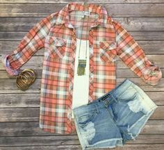 Penny Plaid Flannel Top: Salmon top can be worn as long sleeves or a 3/4 top. It is so very soft and comfy! This is a soft stretchy awesome material!