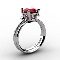 Classic Modern 14K White Gold 2.0 Ct Ruby Daimond Solitaire