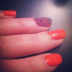 Tangerine Nails and Caviar Nail beads by Ciate
