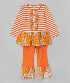 Orange Stripe & Damask Top & Pants - Infant, Toddler & Girls
