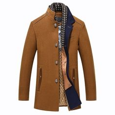 Winter Thicken Wool Mid Long Business Casual Trench Coat Slim Fit Jacket for Mensales-NewChic Mobile