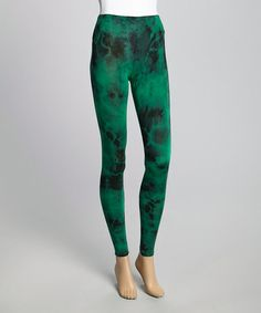 Take a look at this Green Tie-Dye Leggings by Casalee on #zulily today! $10 !!