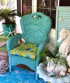 Teal wicker chair.