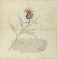 "Atelier Emile Galle Drawing,Design for Vase ""Thistle"" c.1900"