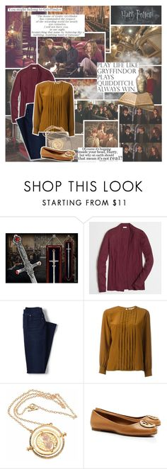 """""""Better be Gryffindor..."""" by evil-laugh ❤ liked on Polyvore featuring J.Crew, Lands' End, Yves Saint Laurent and Tory Burch"""