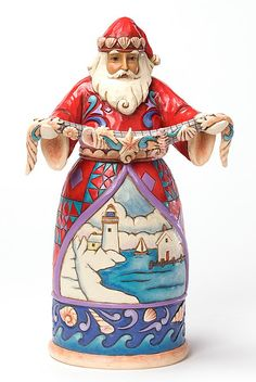 JIM SHORE SANTA - SEASHELL SANTA - FOLK ART COLLECTIBLE SANTA - HEARTWOOD CREEK | eBay