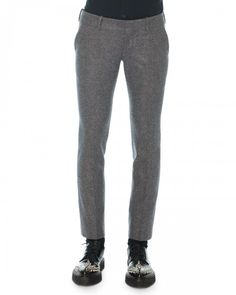 Alexander Mcqueen Felt Wool Cashmere Trousers Gray 54r Gray Pants | Clothing