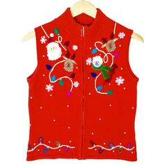 Santa Reindeer And Snowman Tacky Ugly Christmas Sweater Vest