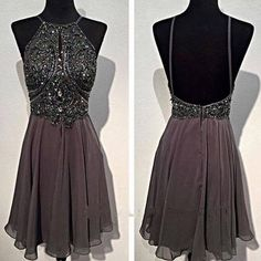Dark grey sparkly special vintage open back sexy popular homecoming prom dress,BD0049