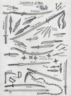 Ninja weapons page (Inspiration) Armas Ninja, Anime Weapons, Fantasy Weapons, Samurai Weapons, Art Reference Poses, Drawing Reference, Sword Reference, Types Of Swords, Sword Types