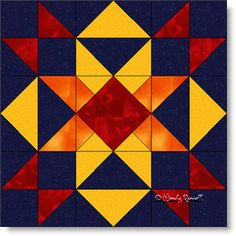 Burning Star quilt block pattern. Nine patch quilt block,