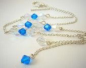 #EstyloContest Cute Blue Clear Swarovski Crystal and Silver NecklaceHandmade by Estylo Jewelry