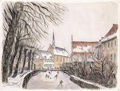 Winter Amersfoort, Aquarel van schaatsers op de Westsingel, Amersfoort. Centraal de Sint-Aagtenkapel, rechts daarvan Museum Flehite. Johan van Bijsterveld