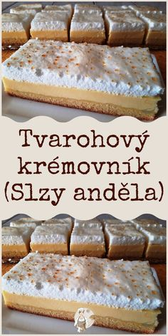 Tvarohový krémovník (Slzy anděla) Baking Recipes, Cake Recipes, Brownie Cupcakes, Czech Recipes, Mini Cheesecakes, Challah, Food Art, Banana Bread, Deserts