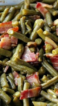 Smothered Bacon Green Bean Casserole, my grandmother made this all the time, especially around the holidays:)