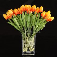 wholesale Tulip Flower Latex Real Touch For Wedding Bouquet KC456 (orange, 10pcs)