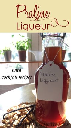 Homemade praline liqueur is easy to make from fresh pecans and fragrant cinnamon sticks seeping in vodka for up to two weeks. Homemade Liqueur Recipes, Homemade Alcohol, Homemade Liquor, Homemade Food, Diy Food, Food Ideas, Drinks Alcohol Recipes, Yummy Drinks, Cocktail Recipes