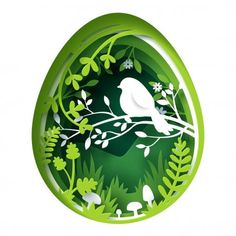 Paper art carve to bird on tree branch in forest and inside the egg, origami concept nature and animals conservation idea, vector art and illustration. Shadow Box Kunst, Shadow Box Art, 3d Paper Art, Paper Artwork, Paper Cutting Art, Paper Tree, Kirigami, Origami Templates, Box Templates