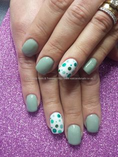 Gel 41 wedgewood green with spotty nail art