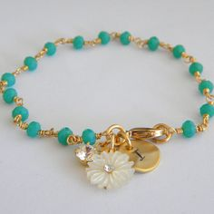 Faceted Jade Green Quartz Initial Bracelet