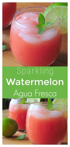 Sparkling Watermelon Agua Fresca – A refreshing and healthy summer drink jam-packed with fresh watermelon, lime juice, and sparkling water.  Perfect for a party! #drink #watermelon #summer #easyrecipe