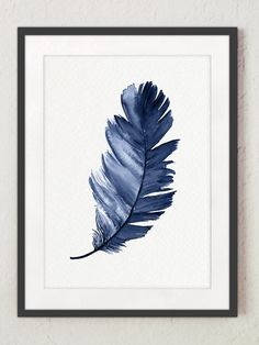 Royal Blue Feather Print set 2 Federn Aquarellmalerei