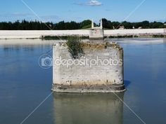 Destroyed bridge over the Rhone in Arles, Provence, France