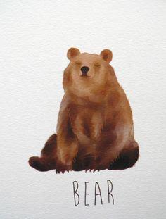 Bear art print A6 by NikkiDotti on Etsy $10.42