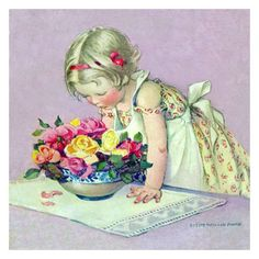 Jessie Willcox Smith Greeting Cards : Smelling the roses