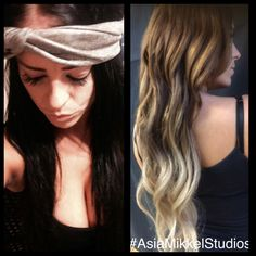 """Color correction I did today.  took Ms. Kailey from 5 day previously box """"dyed"""" black hair to this beautiful ombré! Extremely satisfied with the results. #AsiaMikkelStudios #beauty #ombre #phoenix #arizona #chemist #color #hair #fun #salon #colorcorrection"""
