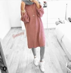 oversized pink sweater hijab-Fashion winter coats and jackets with hijab – Just Trendy Girls