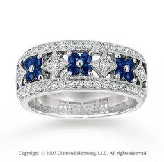 14k White Gold Flower 1/3 Carat Diamond Sapphire Stackable Ring