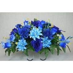 No s1609 Beautiful Spring Cemetery Arrangement Headstone Saddle Grave... ($40) ❤ liked on Polyvore featuring home, home decor, floral decor, grey, home & living, silk flower arrangement, floral arrangement, fall home decor, silk arrangements and artificial floral arrangement