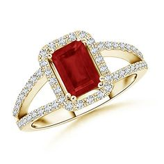 Split Shank Emerald Cut Ruby Halo Ring With Diamond Shoulders in 14K Yellow Gold >>> Continue to the product at the image link.