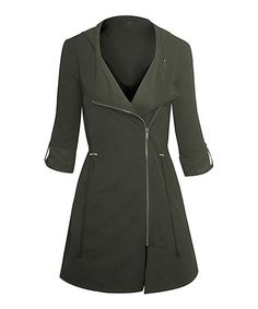 Loving this Olive Asymmetrical-Zip Hooded Moto Jacket on #zulily! #zulilyfinds