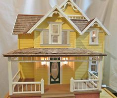 Beautiful Handcrafted Dollhouse Wired w/ Electric Lights Built Complete Finished Dollhouse Design, Dollhouse Kits, Victorian Dollhouse, Dollhouse Miniatures, Fairy Houses, Doll Houses, Homemade Dolls, Light Building, Dollhouse Furniture