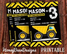 PRINTABLE Construction Birthday Party Dump Truck Digger Invitation with back side