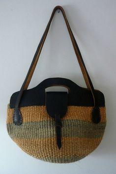 1970s Vintage Bag Raffia Leather Large Tote Purse Bag Hippi Boho