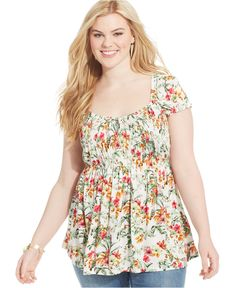 American Rag Plus Size Printed Babydoll Top - Trendy Plus Sizes - Plus Sizes - Macy's