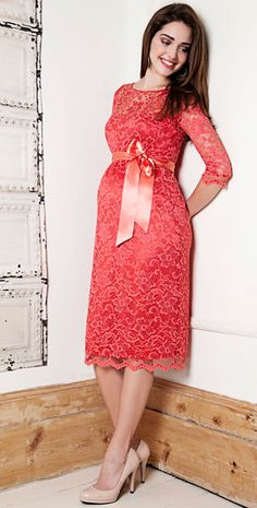 Amelia Lace Maternity Dress Short (Hot Mandarin) by Tiffany Rose. Non Maternity Dresses Maternity Dresses For Baby Shower, Maternity Wear, Maternity Fashion, Maternity Wedding, Maternity Wardrobe, Pregnancy Outfits, Mom Outfits, Dresses For Pregnant Women, Clothes For Women